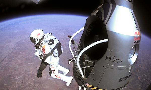 "Extreme ""I wish the whole world could see what I see,"" said Baumgartner as he stood poised 128,100 feet above the Earth. ""Sometimes you have to go up really high to understand how small you really are."""