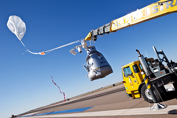 Extreme The thin plastic balloon carried Baumgartner 23.5 miles above the Earth.