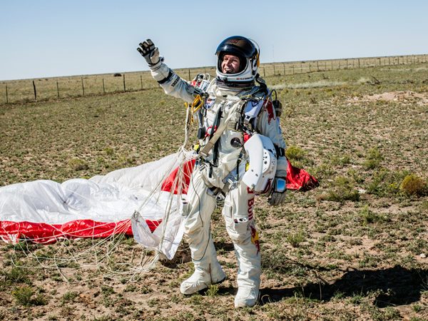 Extreme Picture of Felix Baumgartner after successfully landing after free falling