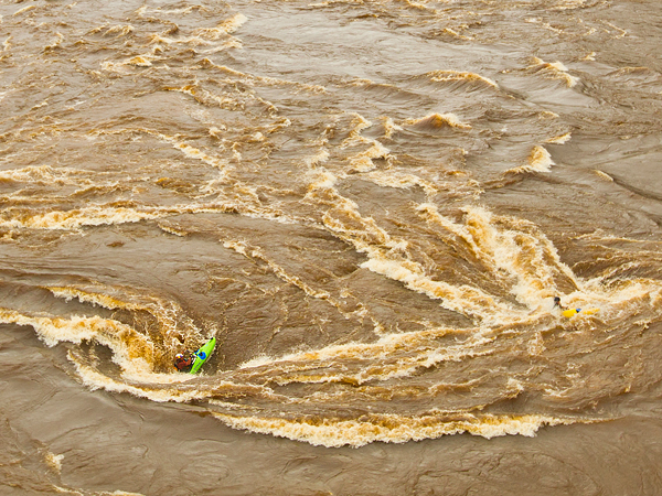 Kayak and Canoe Picture of Steve Fisher kayaking in a whirlpool, Congo River