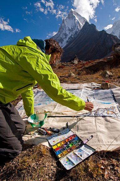 Climbing Picture of Renan Ozturk painting in Garwhal, India