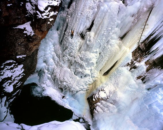 Climbing Ice Climbers at Johnston Canyon in Banff National Park