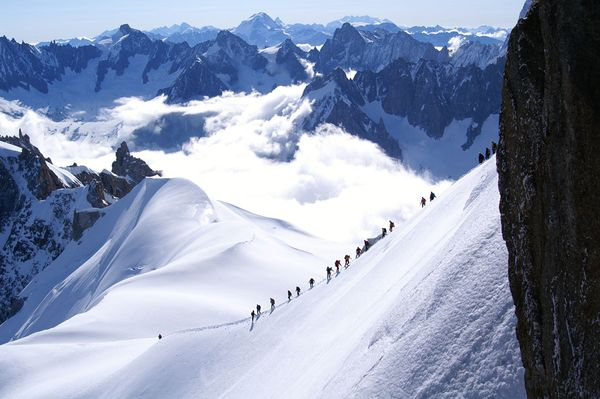 Climbing Climbers on mountain in Chamonix France