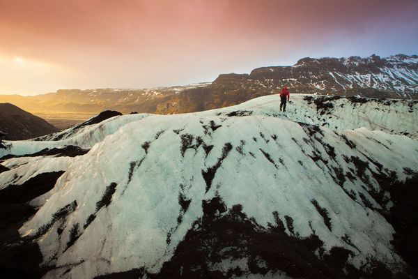 Camp and Hike Picture of a hiker on Solheimajokull Glacier, Iceland