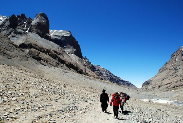 Camp and Hike Picture of two people hiking on Mount Kailash