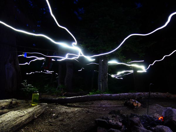 Camp and Hike Photo: Headlamps streak the night sky