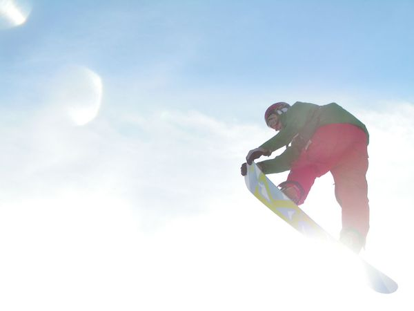 Snowboard Snowboarder jumping in the air