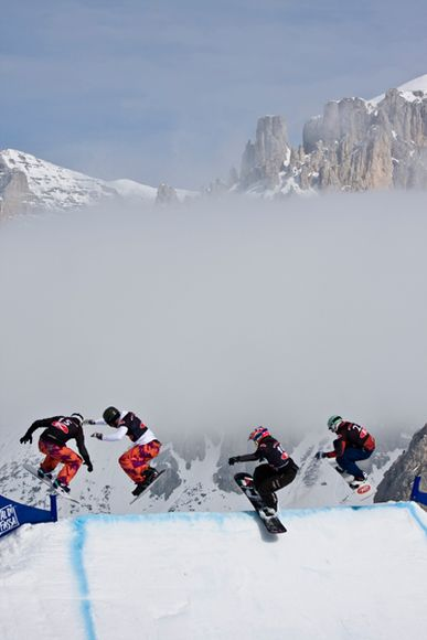 Snowboard Snowboarders in an Italian Alps race