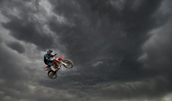 Motorsports Rider hurls into the sky at Wild Rat Motocross in Colorado Springs, Colorado.
