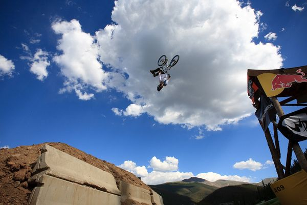 MTB Bike rider in the air in Winter Park, Colorado.