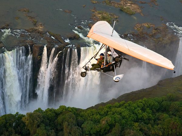 Extreme A microlight flight brings adrenaline junkies close to the roar of Victoria Falls, which splashes between Zambia and Zimbabwe.