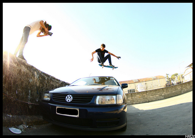 Skateboard car ollie