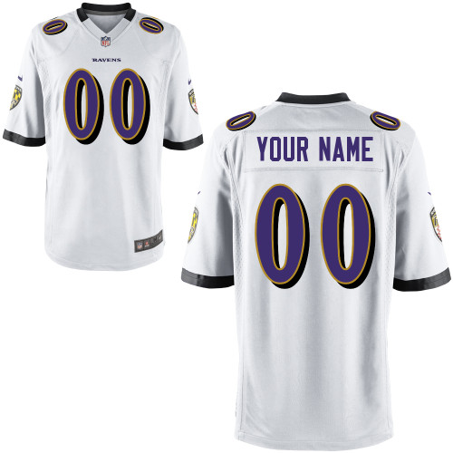 Sports Custom Baltimore Ravens Youth Nike Game White NFL Jersey