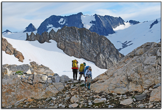 Camp and Hike Nearing Lizard Col, Ptarmigan Traverse, North Cascades, Washington State