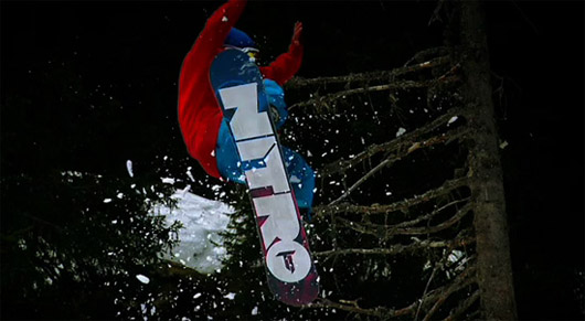 Snowboard Nitro pro rider a little tight with the trees