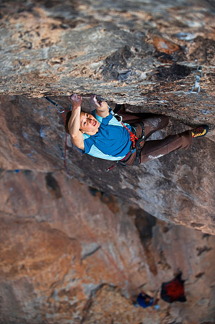 Climbing The incredible Lauren Lee pulling the rose move during her send of Captain Fantastic (5.13c) in the Virgin River Gorge UT