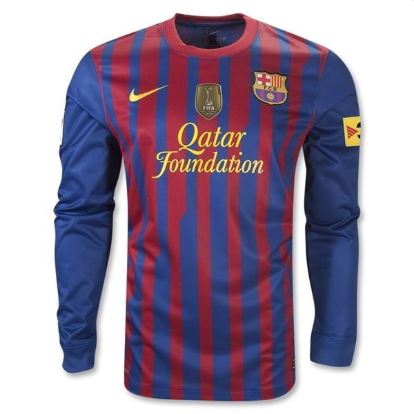 Entertainment Youth Barcelona Home Long Sleeve Soccer Jersey 11/12