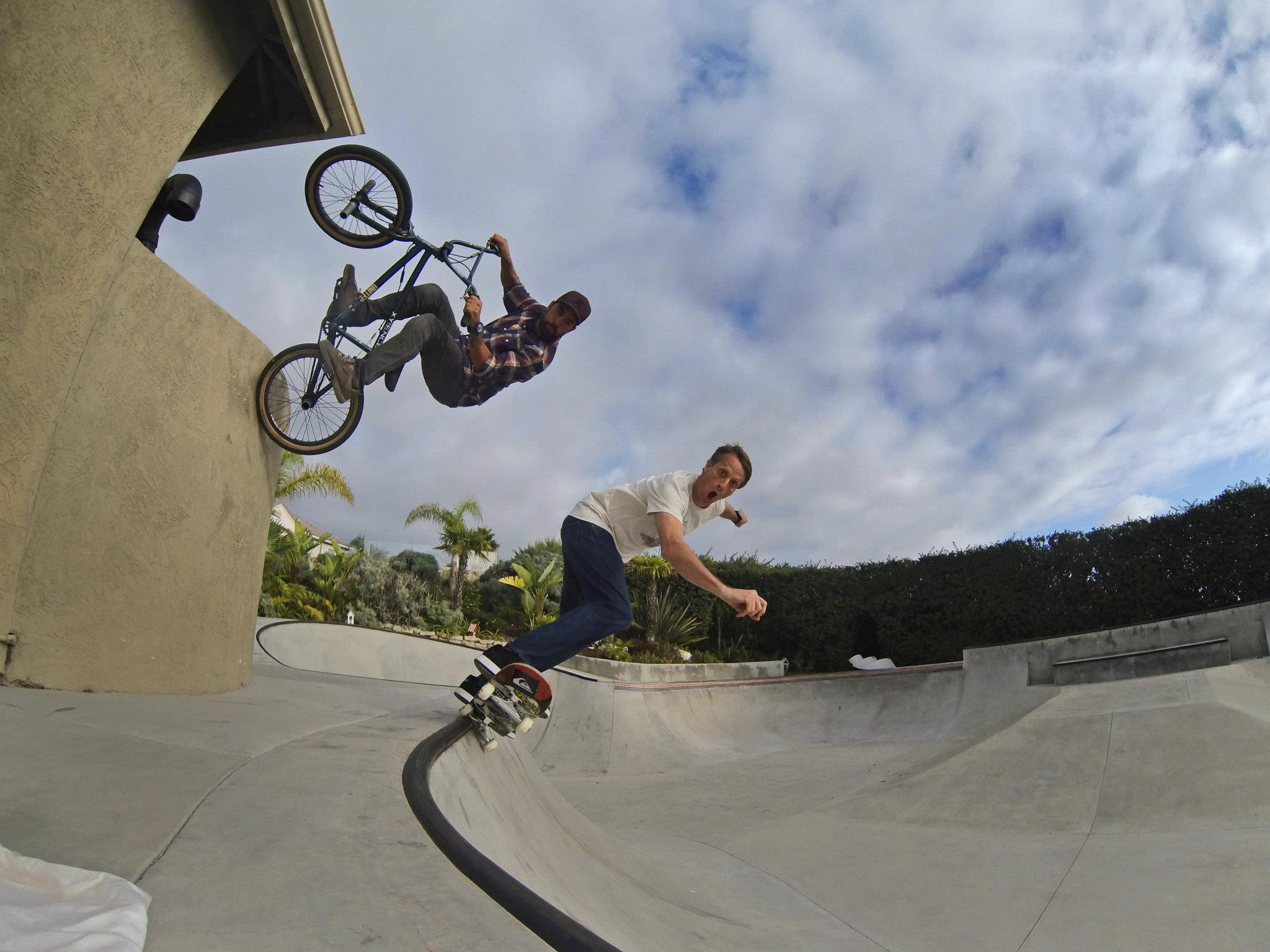 "BMX GoPro athlete Mike Escamilla and a friend shredding at the skate park. Mike says, ""Having some fun with buddy Tony Hawk in his backyard, shot using the HERO3 and the wifi remote..."""