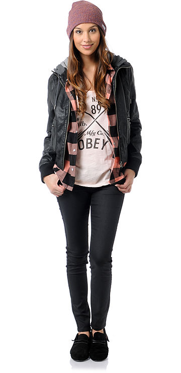 Skateboard Obey Jealous Lover Girls Black & Grey Bomber Jacket
