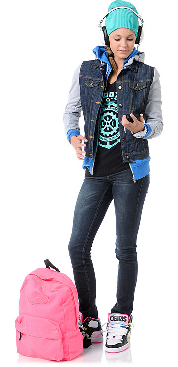 Skateboard Osiris Girls NYC 83 Slim Black, Pink & Hypertone Shoe