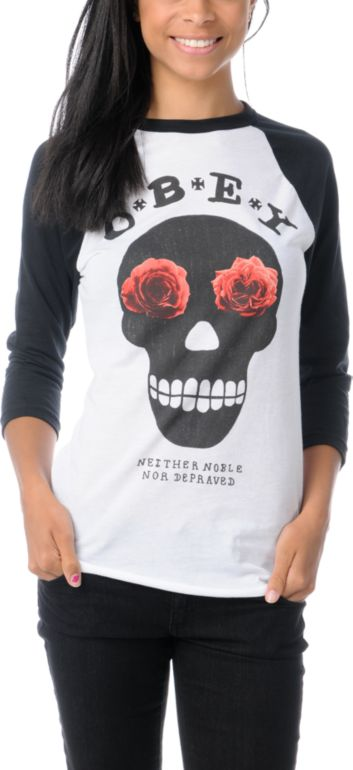 Skateboard Obey Girls Sinner White & Black Baseball Tee Shirt