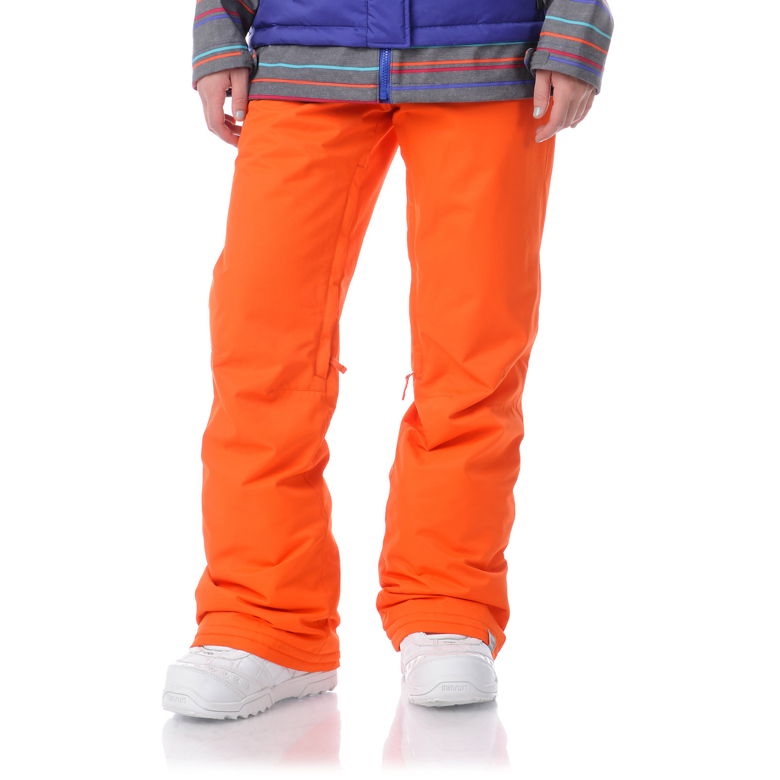 Snowboard Roxy Evolution Bright Orange 8K Girls Snowboard Pants
