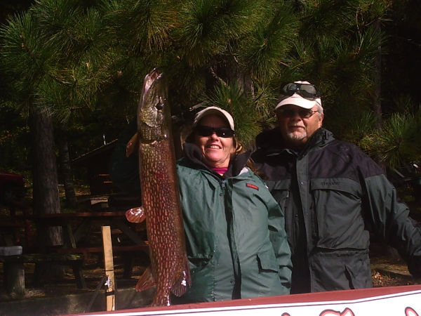 Fishing Winning Northern (15.5 lbs.) at Coop's Classic Fishing tournament. Caught by Cindy Avelsgard.