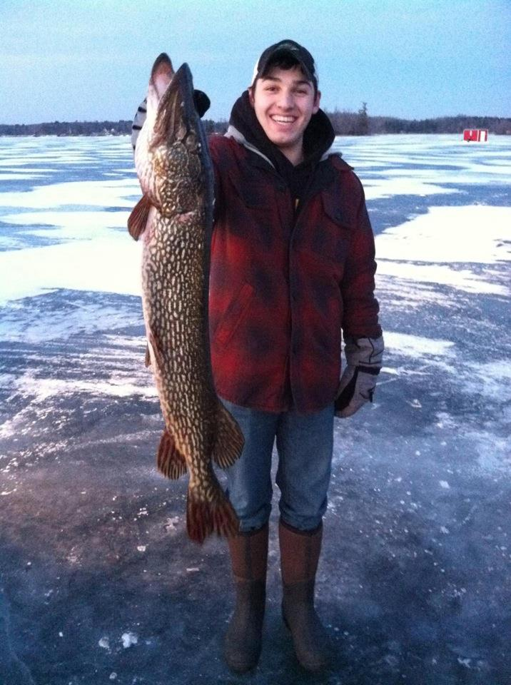 "Fishing 34"" Pike spearing at the new cabin on Bay Lake 2012"
