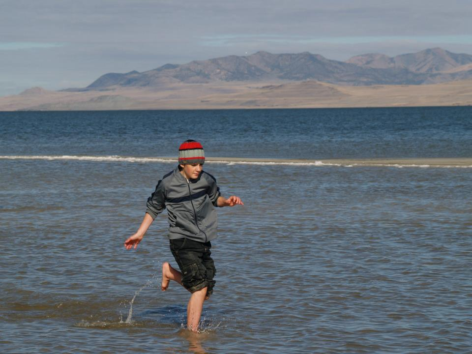 Entertainment Testing the salt water at Antelope Island, Utah!