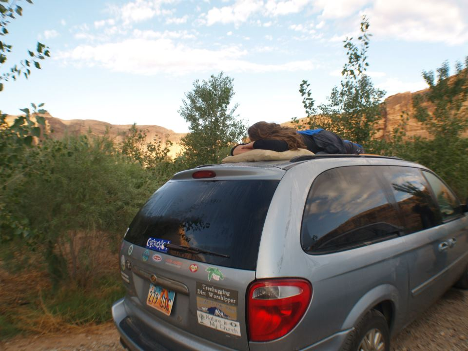 Camp and Hike The car roof is the best spot for star gazing in the Utah desert!