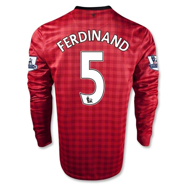 Entertainment FERDINAND Manchester United Home Long Sleeve Soccer Jersey 2012/2013