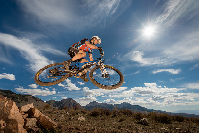 MTB Jumping over the La Sal Mt Range
