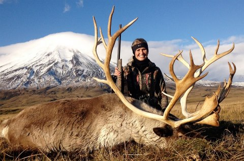 Hunting Cabela's Pro Staff member Rachelle Hedrick recently took this reindeer in the Aleutian Islands.