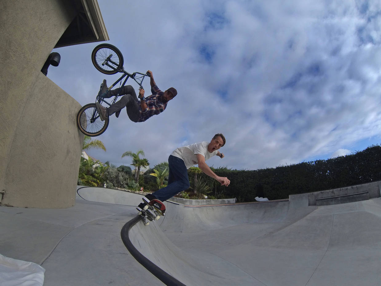 BMX Tony Hawk & I backyard doubles sesh!