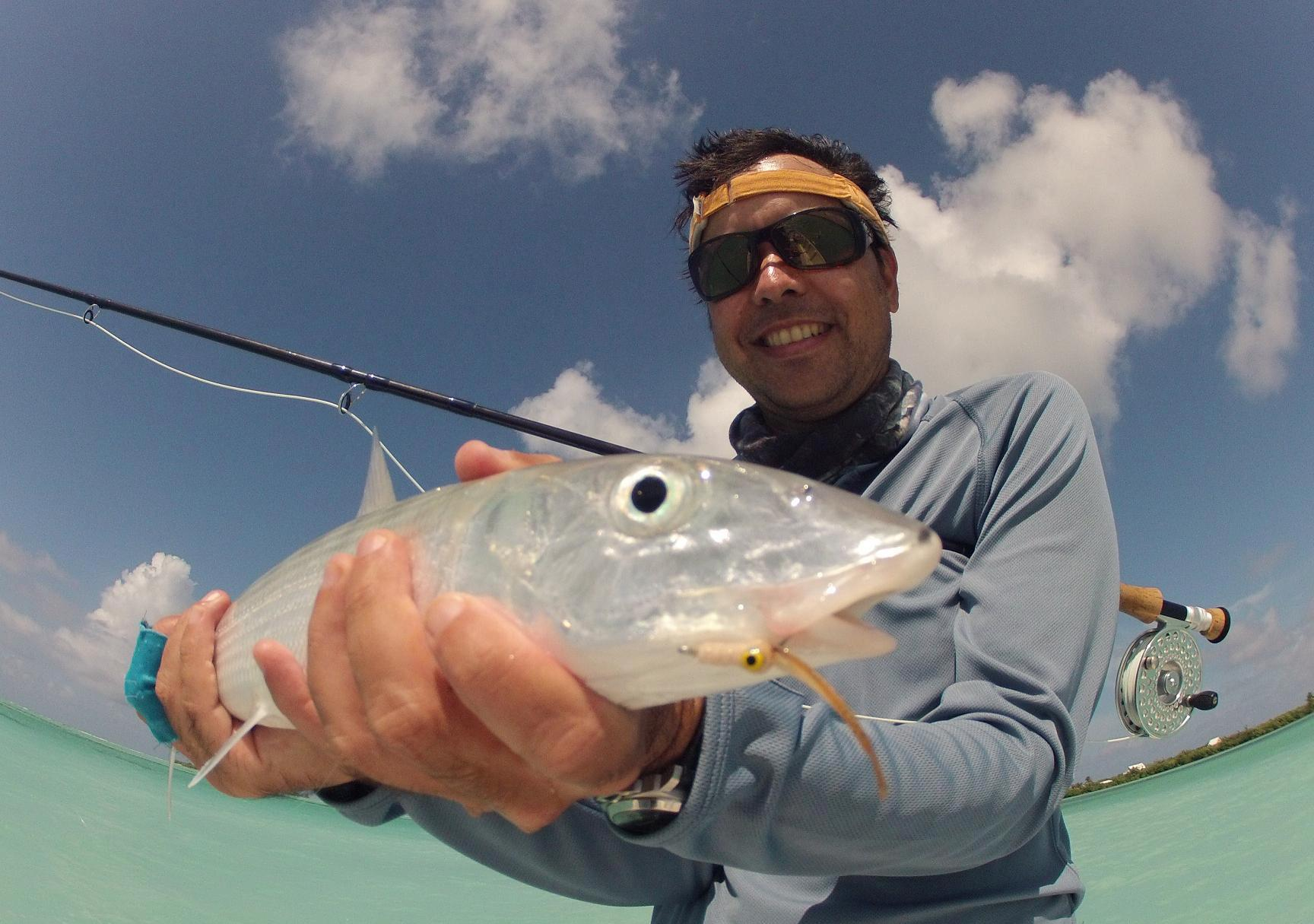 Fishing A nice Bonefish from Little Cayman on A Hero 2