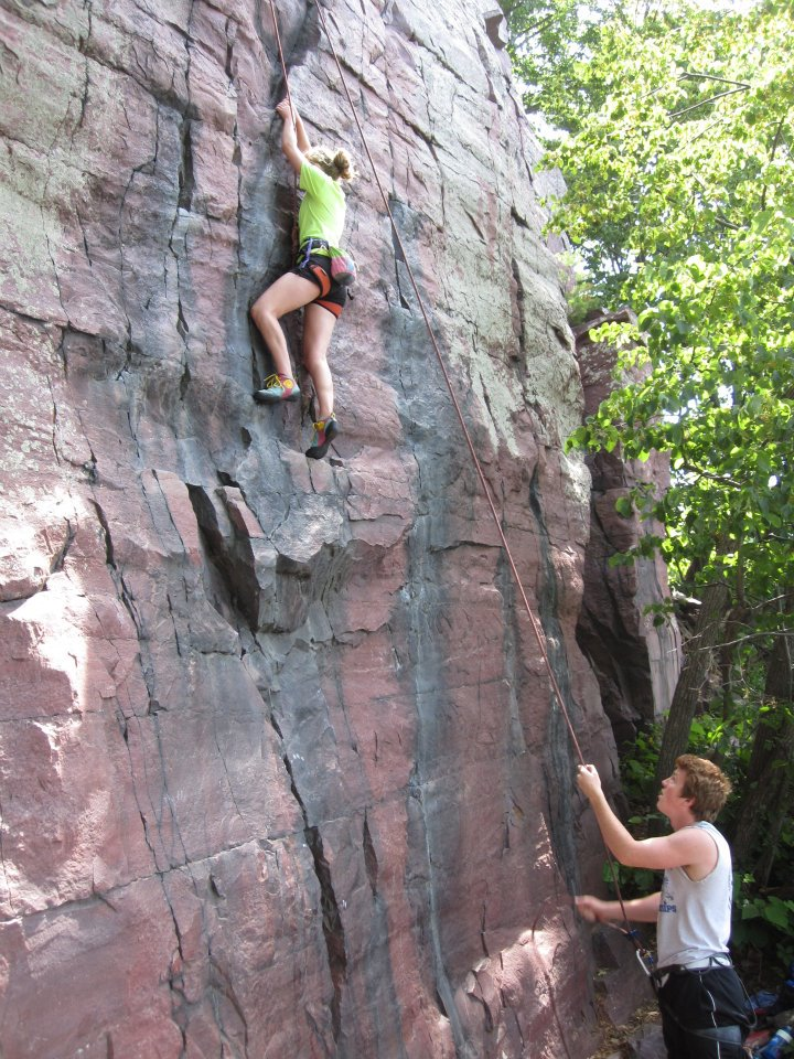 Climbing My cousin Corry débuts in outdoor climbing at Devil's Lake, WI