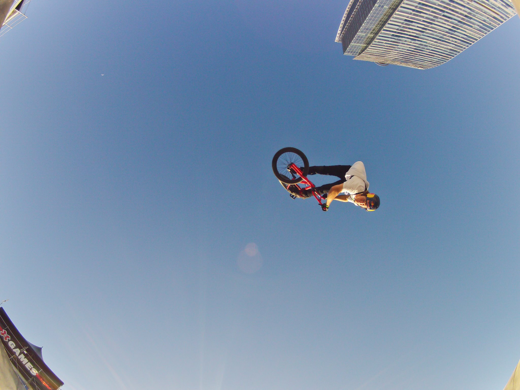 BMX BMX rider Drew Bezanson soars through the sky.