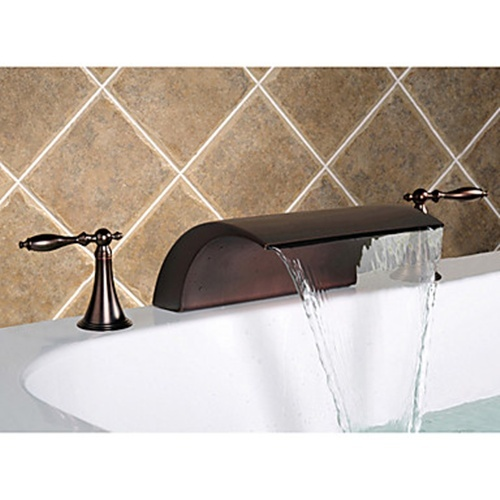 Oil-rubbed Bronze Widespread Waterfall Two Handles Bathroom Sink Faucets -- Faucetsmall.com