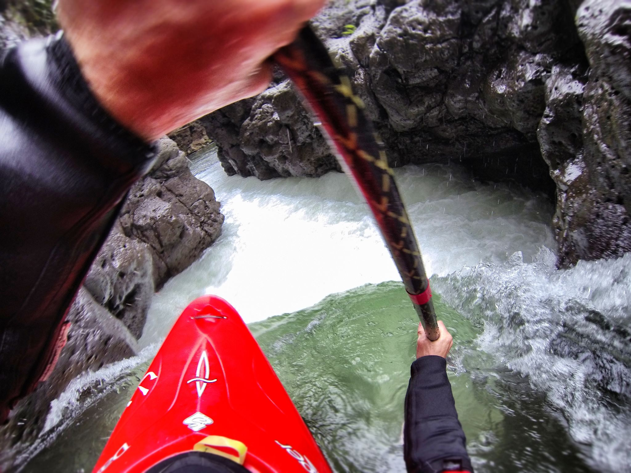 "Kayak and Canoe A relatively easy rapid on the Alceseca with deadly consequences... ""Boof Or Die."" It used to get walked but it seems most everyone bombs down it now! Feels good to be back in my boat!"