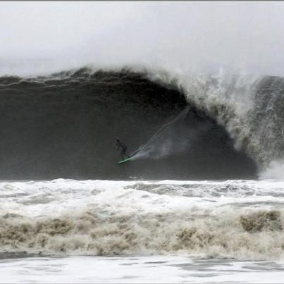 Surf During Hurricane Sandy. Here is a shot of Raven Lundy, on the east coast off of Ocean City, MD