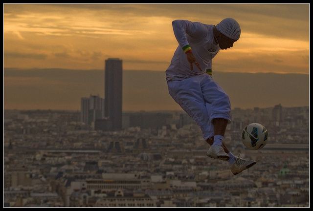 Sports freestyle soccer over Paris