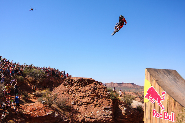 MTB Cam McCaul, monster whip on the canyon gap. Red Bull Rampage 2012