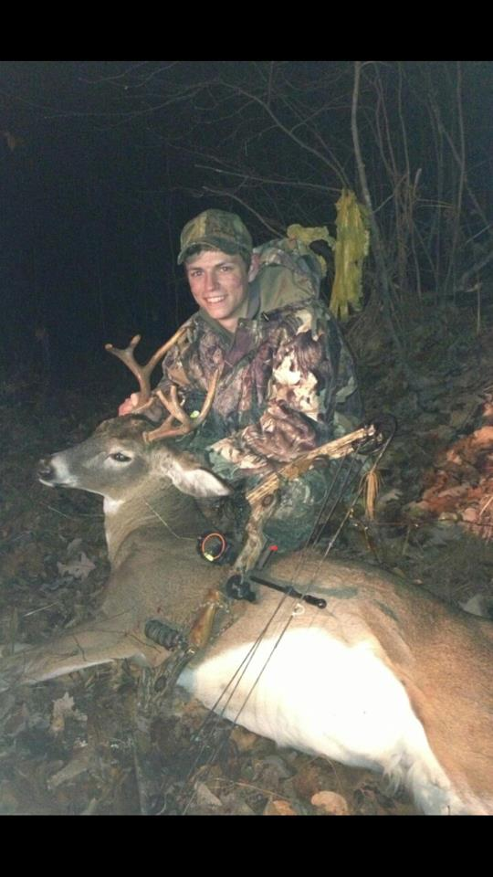 Hunting First buck and first deer with a bow! double lunged this 8 pointer at 25 yards Nov. 9, 2012 in Wisconsin.