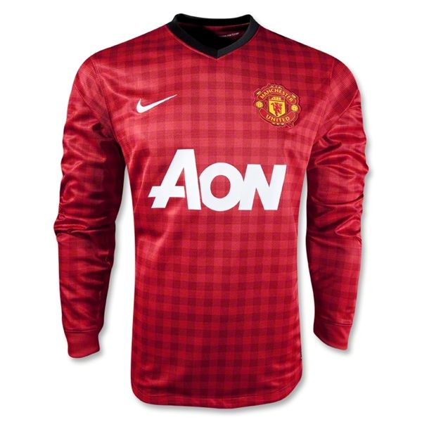 Sports Manchester United Home Long Sleeve Soccer Jersey 2012/2013