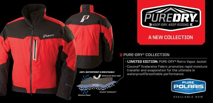 Snowmobile Introducing the NEW LIMITED EDITION PURE-DRY® Retro Vapor Jacket. (http://bit.ly/RetroVapor) With lightweight, high-tech PURE-DRY® Collection gear, high-performance riders will stay dry & comfortable all day.  In any weather, at any elevation, keep dry &