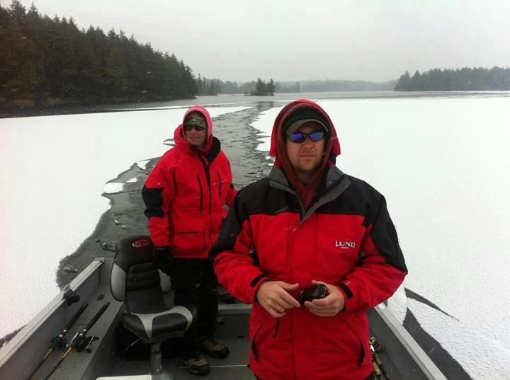 Fishing A little ice doesn't stop serious anglers like Rob Manthei from keeping the Lund wet!