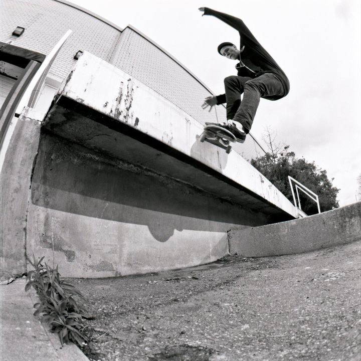 Skateboard Ben Paterson - Front Smith at a crusty spot. From our newest issue. Photo: James Morley