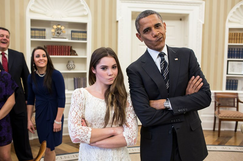 "Entertainment President Barack Obama jokingly mimics U.S. Olympic gymnast McKayla Maroney's ""not impressed"" look while greeting members of the 2012 U.S."