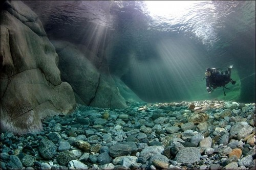 Scuba Crystal Clear Water of the Verzasca River