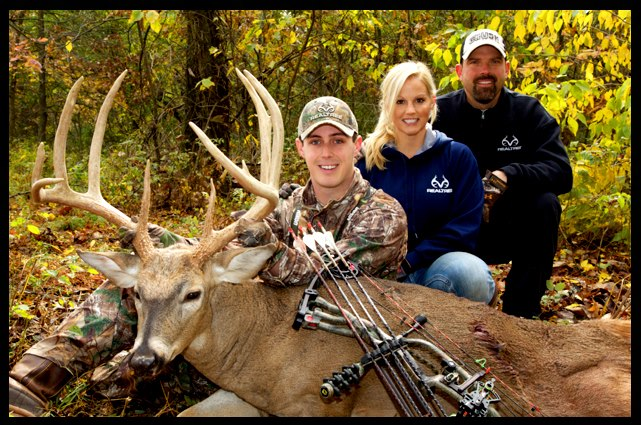 "Hunting Another pic of Tyler Jordan and his 170"" Iowa whitetail buck taken while hunting with Lee and Tiffany Lakosky."